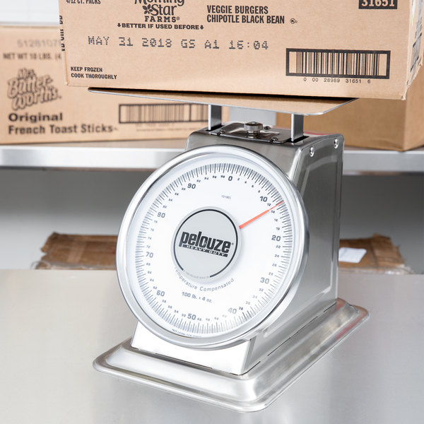 Rubbermaid FG10100S Pelouze 100 lb. Stainless Steel Mechanical Receiving Scale