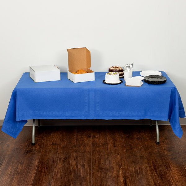 """Creative Converting 713147B 54"""" x 108"""" Cobalt Blue Tissue / Poly Table Cover"""