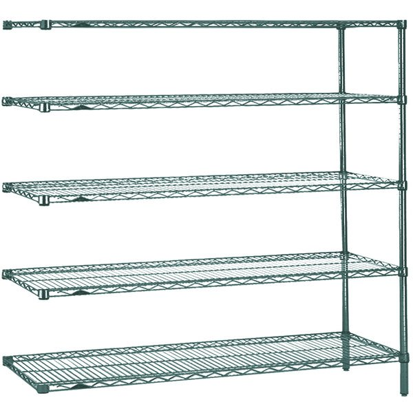 "Metro 5AN377K3 Super Erecta Metroseal 3 Adjustable Wire Stationary Add-On Shelving Unit - 18"" x 72"" x 74"" Main Image 1"