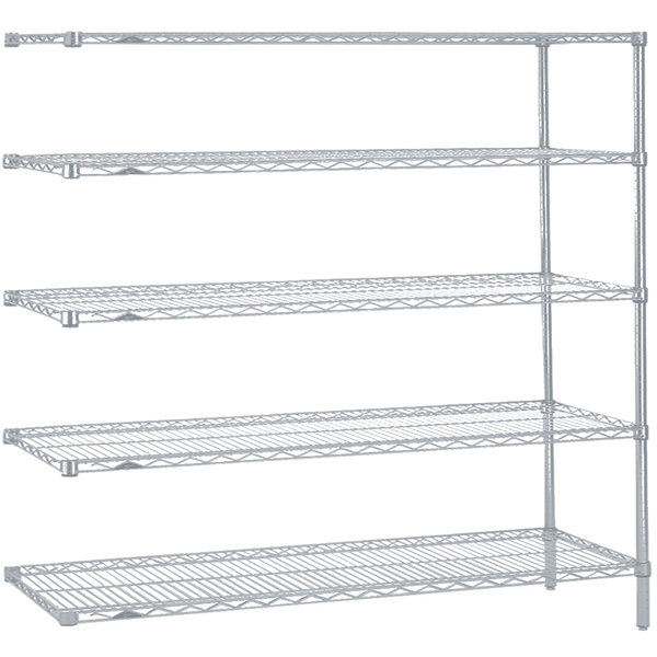 """Metro 5AN377BR Super Erecta Brite Adjustable Wire Stationary Add-On Shelving Unit - 18"""" x 72"""" x 74"""""""
