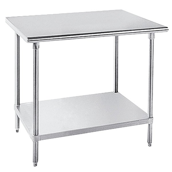 """Advance Tabco MSLAG-365-X Stainless Steel Work Table with Undershelf - 36"""" x 60"""""""