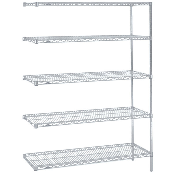 """Metro 5AN537BR Super Erecta Brite Wire Stationary Add-On Shelving Unit - 24"""" x 36"""" x 74"""""""
