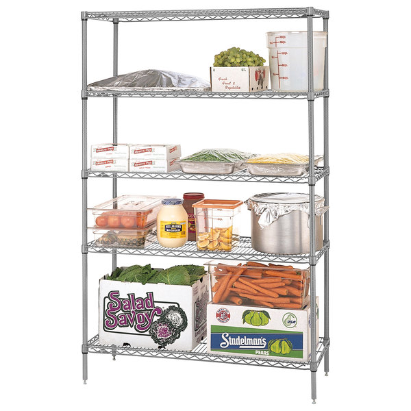 "Metro 5N357BR Super Erecta Brite Wire Stationary Starter Shelving Unit - 18"" x 48"" x 74"""