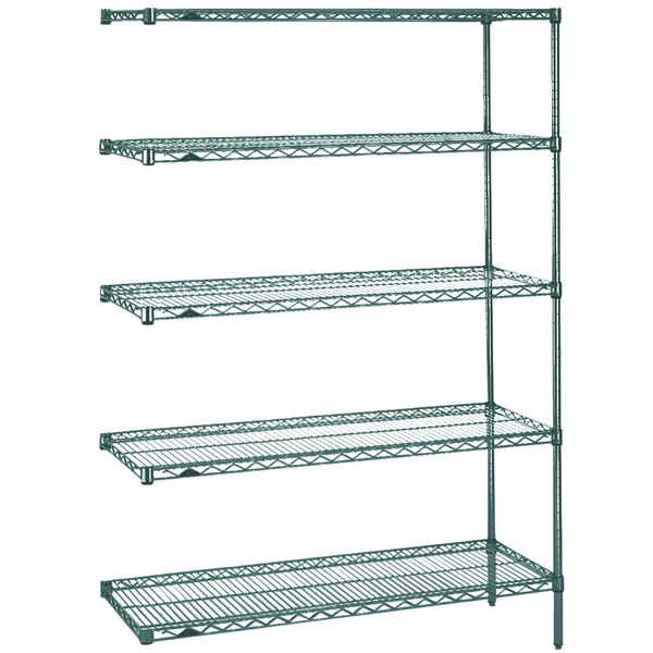"Metro 5AN427K3 Super Erecta Metroseal 3 Adjustable Wire Stationary Add-On Shelving Unit - 21"" x 30"" x 74"" Main Image 1"