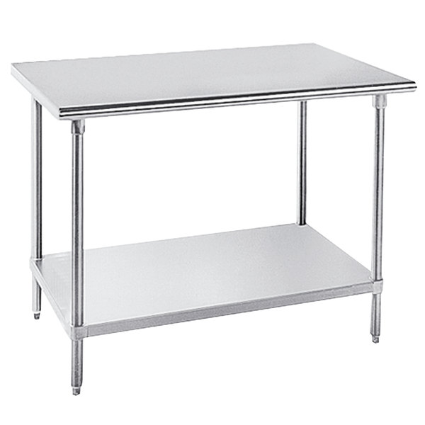 """Advance Tabco MSLAG-366-X Stainless Steel Work Table with Undershelf - 36"""" x 72"""""""