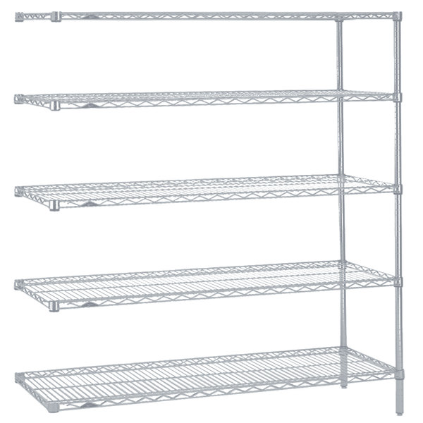 """Metro 5AN567BR Super Erecta Brite Wire Stationary Add-On Shelving Unit - 24"""" x 60"""" x 74"""""""
