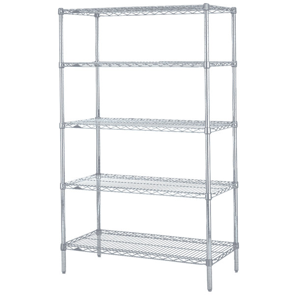 "Metro 5N457BR Super Erecta Brite Wire Stationary Starter Shelving Unit - 21"" x 48"" x 74"""