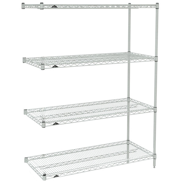 """Metro AN436BR Super Erecta Brite Wire Stationary Add-On Shelving Unit - 21"""" x 36"""" x 63"""""""