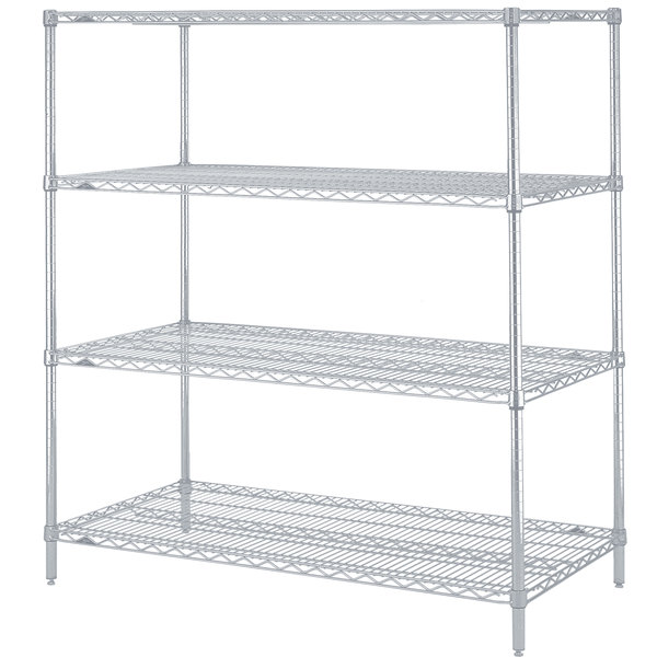 "Metro N546BR Super Erecta Brite Adjustable Wire Stationary Starter Shelving Unit - 24"" x 42"" x 63"""