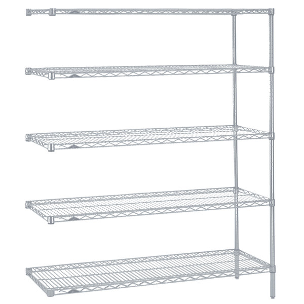 "Metro 5AN357BR Super Erecta Brite Wire Stationary Add-On Shelving Unit - 18"" x 48"" x 74"""