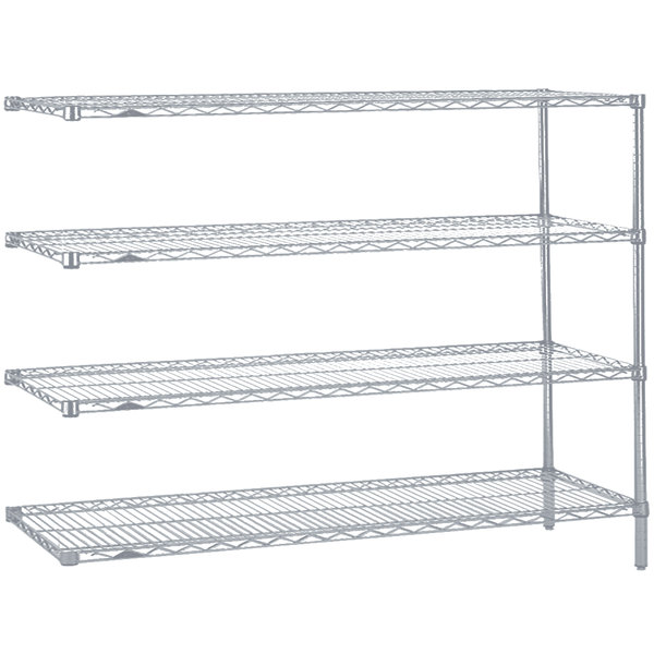 "Metro AN476BR Super Erecta Brite Adjustable Wire Stationary Add-On Shelving Unit - 21"" x 72"" x 63"""