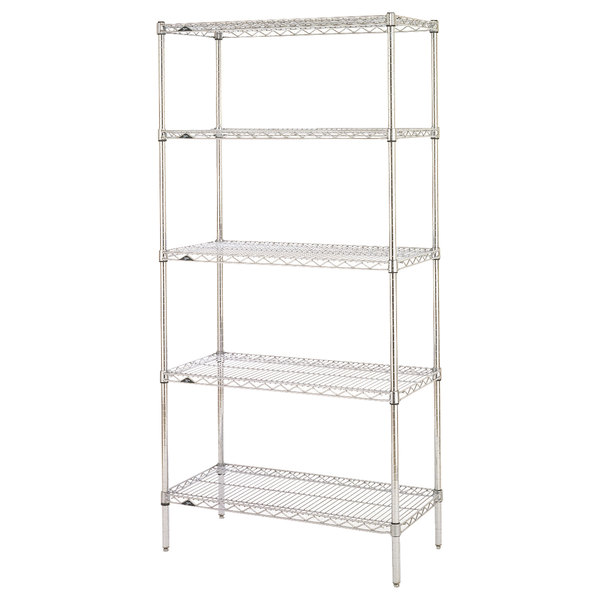 "Metro 5N537BR Super Erecta Brite Wire Stationary Starter Shelving Unit - 24"" x 36"" x 74"""
