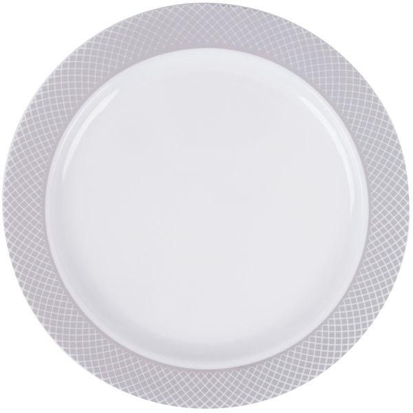 Silver Visions 6 inch White Plastic Plate with Silver Lattice Design - 150/Case