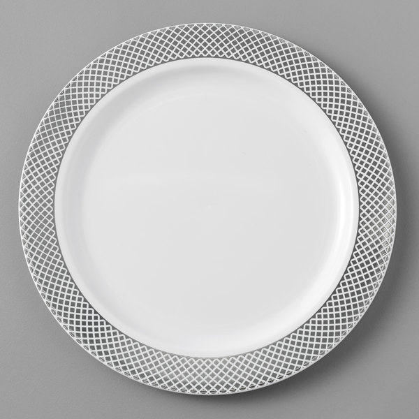 Silver Visions 6 inch White Plastic Plate with Silver Lattice Design - 15/Pack