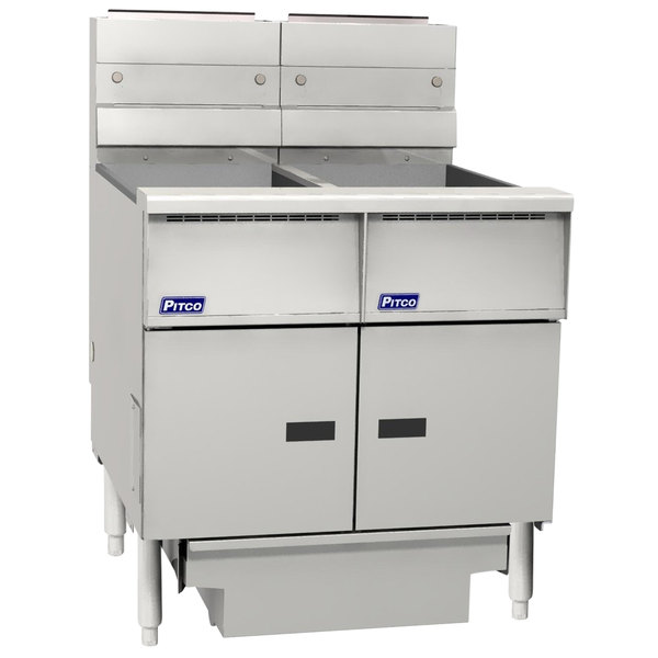 """Pitco SG14RS-2FD-V7 Solstice Liquid Propane 80-100 lb. 2 UnitFloor Fryer System with 7"""" Touchscreen Controls and Filter Drawer - 244,000 BTU"""