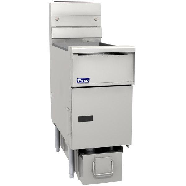 Pitco SG14RS-1FD-M Solstice Liquid Propane 40-50 lb. SoloFilter Floor Fryer with Millivolt Controls and Filter Drawer - 122,000 BTU