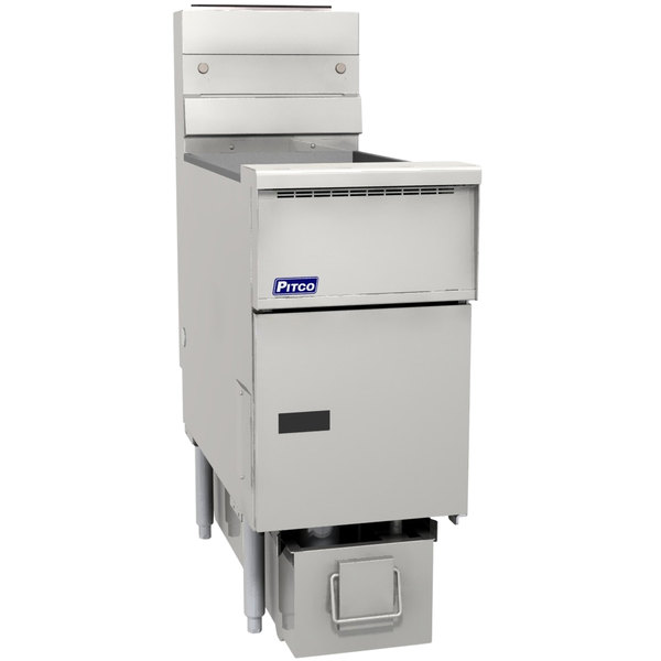 """Pitco SG14RS-1FD-V5 Natural Gas 40-50 lb. SoloFilter SolsticeFloor Fryer with 5"""" Touch Screen Controls and Filter Drawer - 122,000 BTU"""