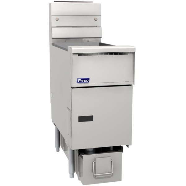 Pitco SG14RS-1FD-M Solstice Natural Gas 40-50 lb. SoloFilter Floor Fryer with Millivolt Controls and Filter Drawer - 122,000 BTU