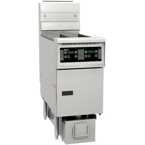 Pitco SG14RS-1FD-D Solstice Liquid Propane 40-50 lb. SoloFilter Floor Fryer with and Digital Controls and Filter Drawer - 122,000 BTU