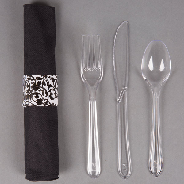 Hoffmaster 119974 Ornate CaterWrap 17 inch x 17 inch Pre-Rolled Linen-Like Black Napkin and Clear Heavy Weight Plastic Cutlery Set - 100/Case