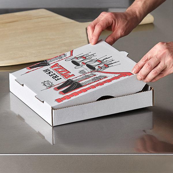 "Choice 10"" x 10"" x 2"" White Corrugated Pizza Box - 50/Case Main Image 3"