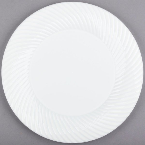 Visions Wave 10 inch White Plastic Plate - 144/Case