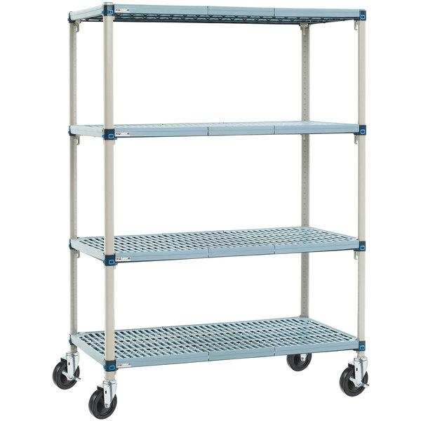 "Metro Q336BG3 MetroMax Q Open Grid Shelf Cart with Rubber Casters - 18"" x 36"" x 67"""