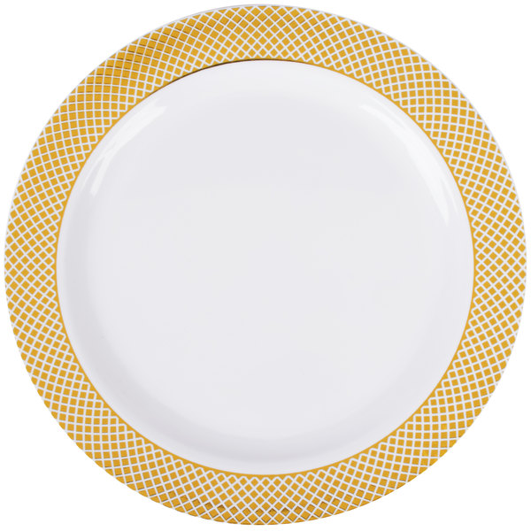Silver Visions 7 inch White Plastic Plate with Gold Lattice Design - 150/Case