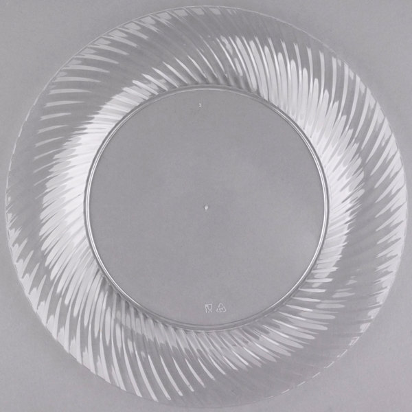 Visions Wave 10 inch Clear Plastic Plate - 18/Pack