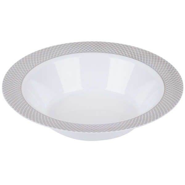 Silver Visions 12 oz. White Bowl with Silver Lattice Design - 150/Case