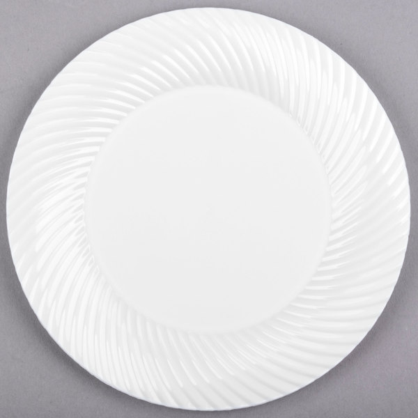 Visions Wave 6 inch White Plastic Plate  - 180/Case