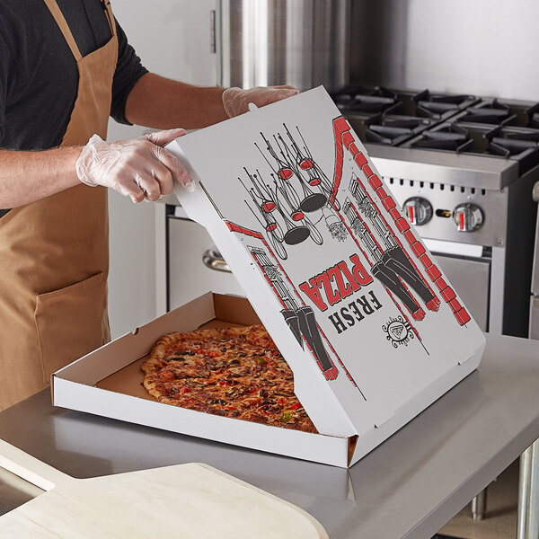 "Choice 20"" x 20"" x 2"" White Corrugated Pizza Box - 25/Case Main Image 3"