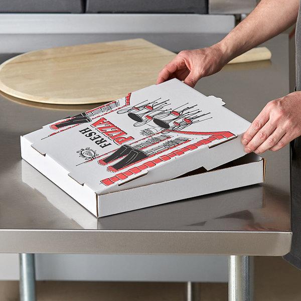 "Choice 14"" x 14"" x 2"" White Corrugated Pizza Box - 50/Case Main Image 3"