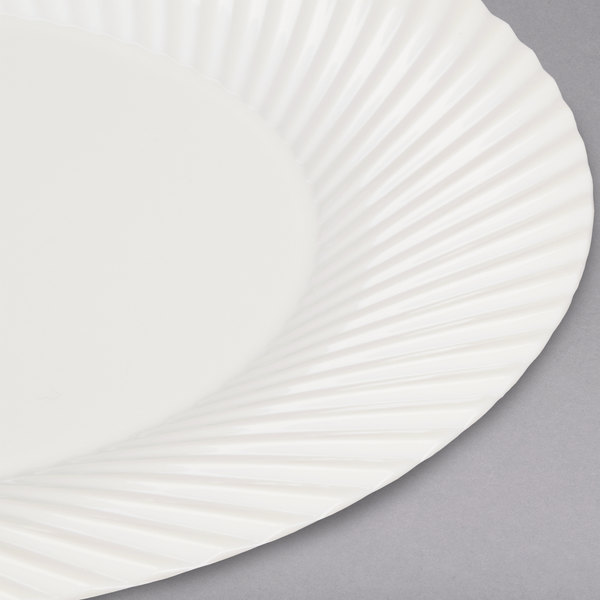 Add an elegant touch to your event with this Visions Wave 6\  bone / ivory plastic plate! & Visions Wave 6\