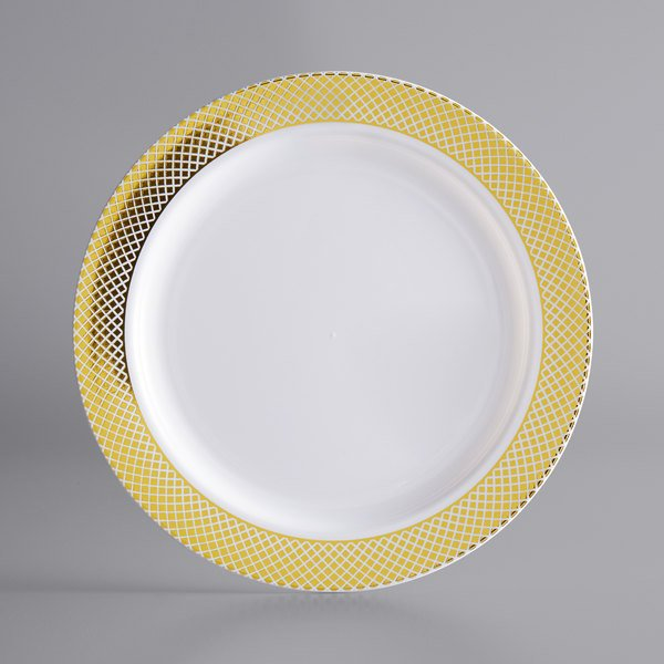 Gold Visions 6 inch White Plastic Plate with Gold Lattice Design - 150/Case