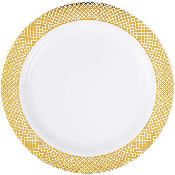 Add some elegance to your next event with this Silver Visions 9  white plate with gold lattice design!  sc 1 st  WebstaurantStore & Silver Visions 9