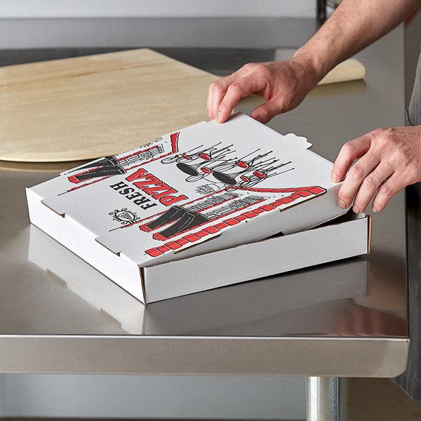"Choice 12"" x 12"" x 2"" White Corrugated Pizza Box - 50/Case Main Image 3"