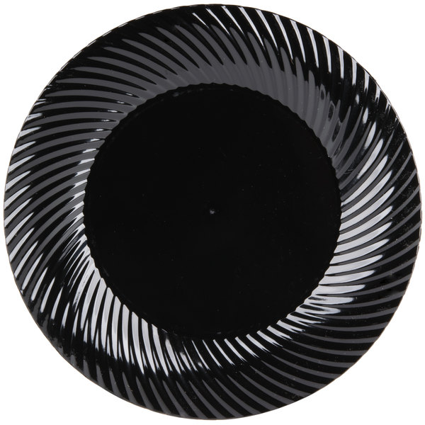 Visions Wave 6 inch Black Plastic Plate  - 180/Case