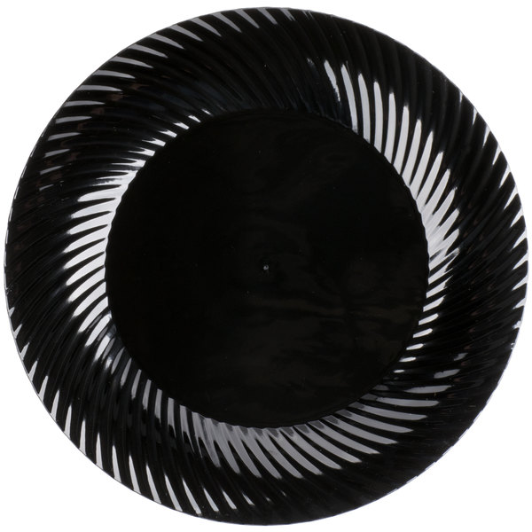 Visions Wave 10 inch Black Plastic Plate - 144/Case