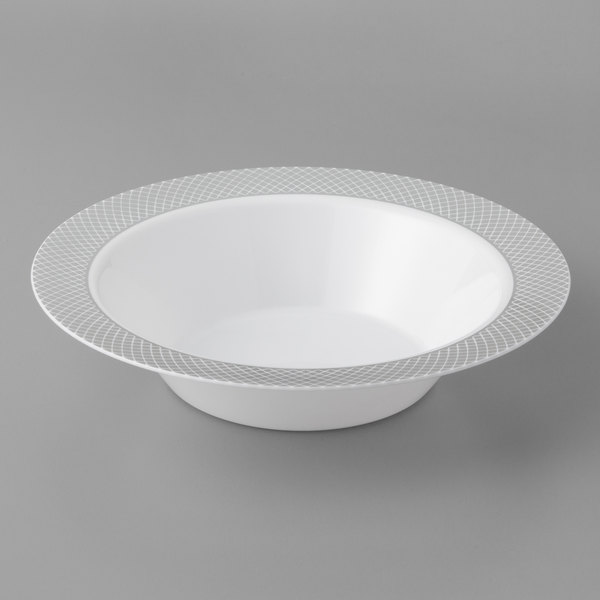 Silver Visions 12 oz. White Bowl with Silver Lattice Design - 15/Pack
