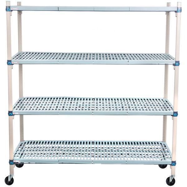 "Metro Q566BG3 MetroMax Q Open Grid Shelf Cart with Rubber Casters - 24"" x 60"" x 67"" Main Image 1"