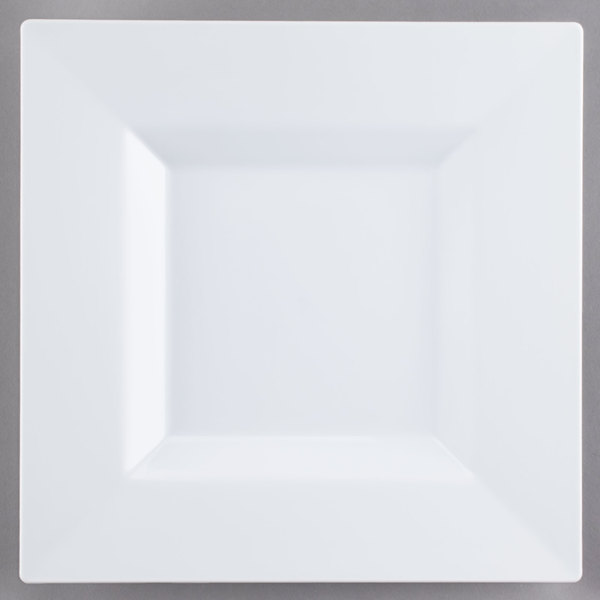 """Visions Florence 10"""" Square White Plastic Plate - 120/Case"""