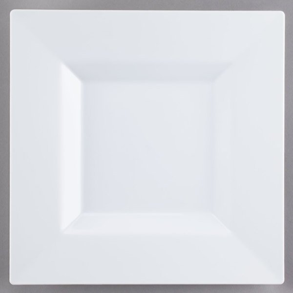 Visions Florence 10 inch Square White Plastic Plate - 120/Case