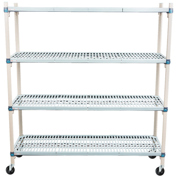 "Metro Q366BG3 MetroMax Q Open Grid Shelf Cart with Rubber Casters - 18"" x 60"" x 67"" Main Image 1"