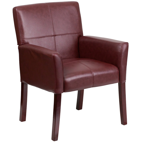 Flash Furniture BT-353-BURG-GG Burgundy Leather Executive Side / Reception Chair with Mahogany Legs Main Image 1