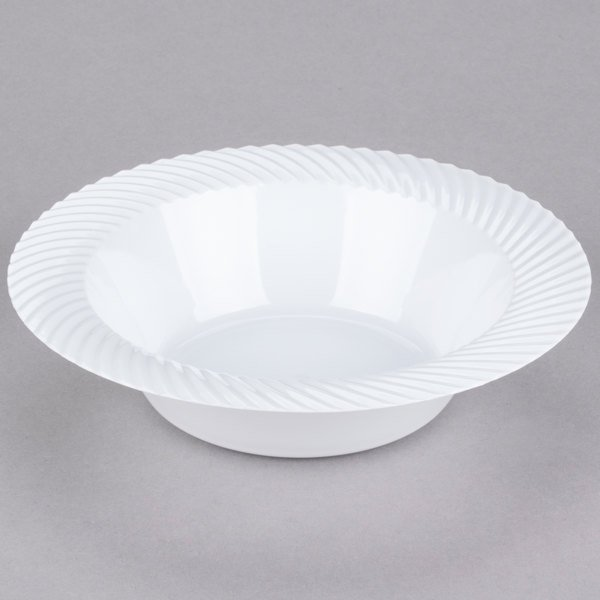 Visions Wave 12 oz. White Plastic Bowl - 180/Case