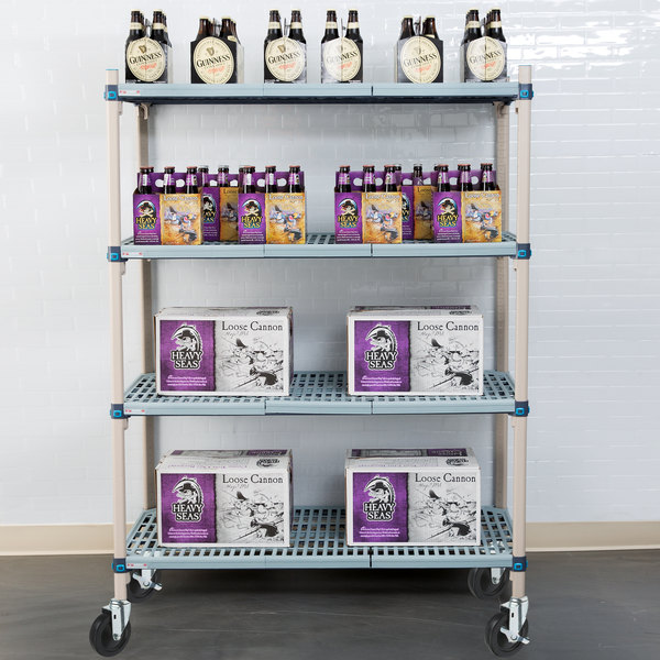 "Metro Q456BG3 MetroMax Q Open Grid Shelf Cart with Rubber Casters - 21"" x 48"" x 67"" Main Image 6"
