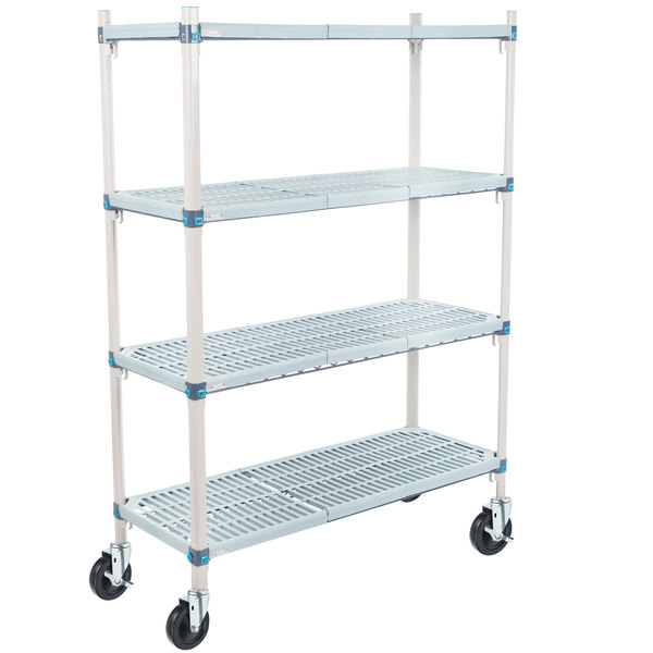 "Metro Q356BG3 MetroMax Q Open Grid Shelf Cart with Rubber Casters - 18"" x 48"" x 67"""