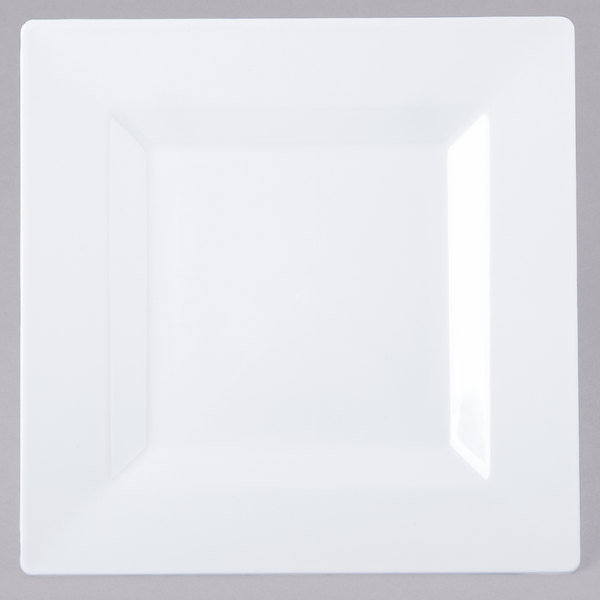 Visions Florence 6 inch Square White Plastic Plate  - 10/Pack