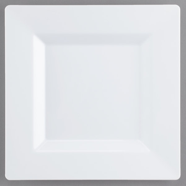 Visions Florence 8 inch Square White Plastic Plate - 120/Case